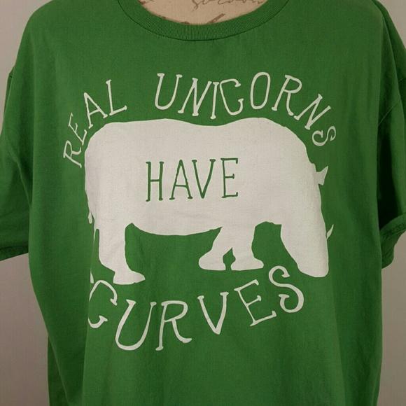 Real Unicorns Have Curves 2X Green T Shirt Rhino